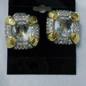 Clip On earrings vintage Crystal Goldtone metal